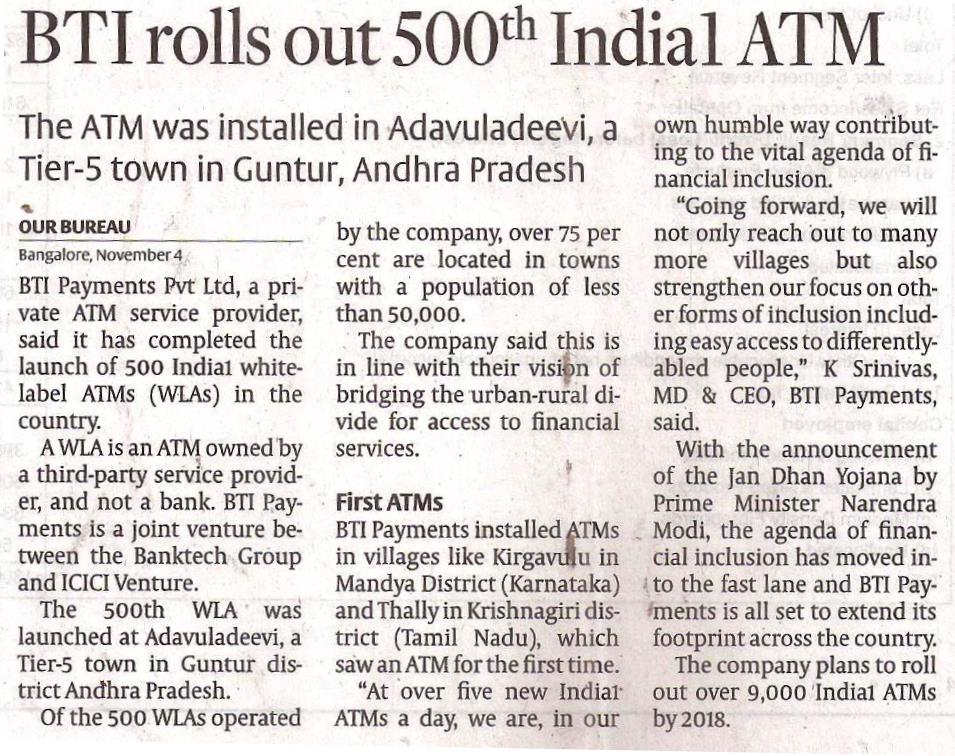 BTI rolls out 500th India1ATM